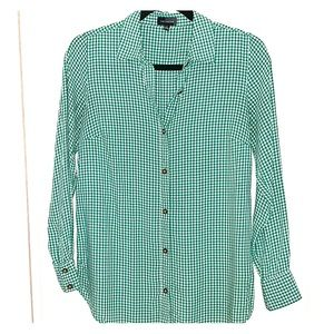 The Limited XS green white checkered button down